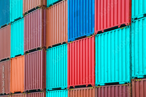 canvas print picture Stack of freight containers at the docks