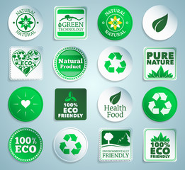 Eco stickers, labels and buttons. EPS10.