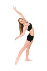 girl dancer in motion on white background