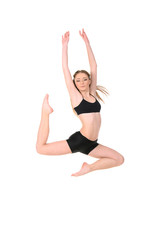 jumping girl dancer isolated on white background