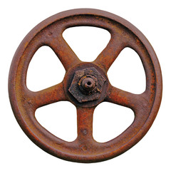 Industrial Valve Wheel And Rusty Stem, Old Aged Weathered Rust