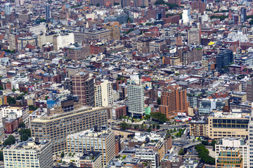 Aerial view over Brooklyn building