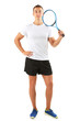 Handsome young sportsman holding racket isolated on white