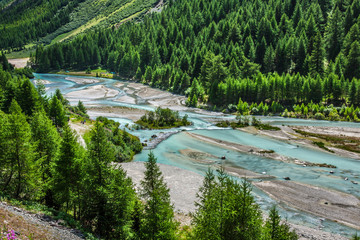 Swiss Alps-river Inn and Pontresina