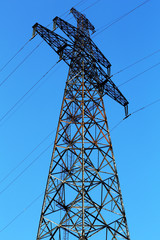 High voltage line on sky background