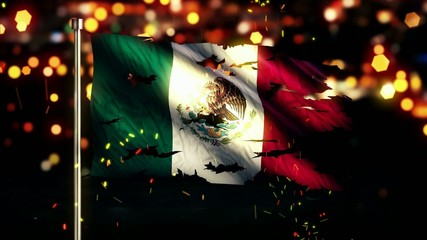 Mexico Flag Torn Burned War Freedom Loop Animation