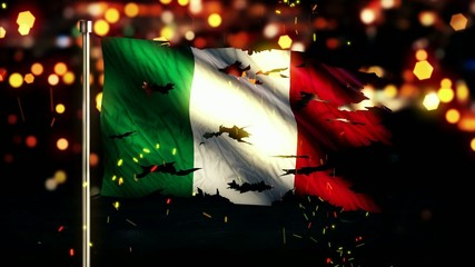 Italy Flag Torn Burned War Freedom Loop Animation