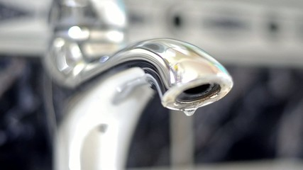 Silver faucet water drips dripping LOOP