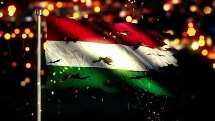 Hungary Flag Torn Burned War Freedom Loop Animation