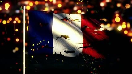 France Flag Torn Burned War Freedom Loop Animation