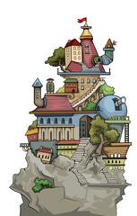 Fantastic weird cute colorful city village