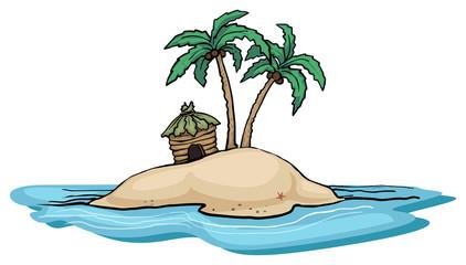 Far away island with palm tree and a single hut