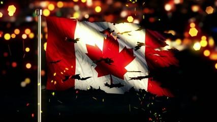 Canada Flag Torn Burned War Freedom Loop Animation