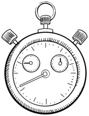 Stop watch, black and white drawn