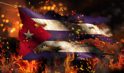 Cuba Burning Fire Flag War Conflict Night 3D