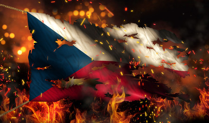 Czech Republic Burning Fire Flag War Conflict Night 3D