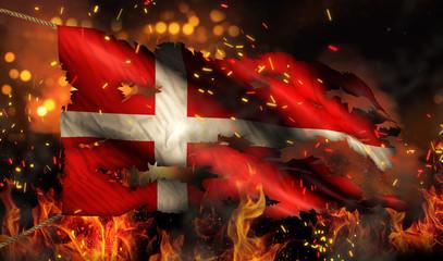 Denmark Burning Fire Flag War Conflict Night 3D