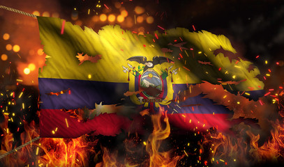 Ecuador Burning Fire Flag War Conflict Night 3D