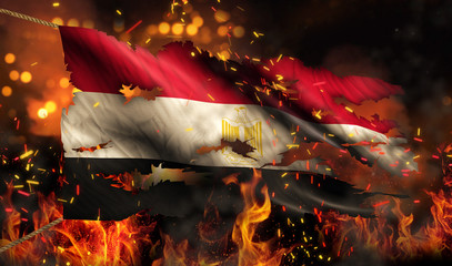 Egypt Burning Fire Flag War Conflict Night 3D