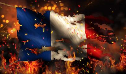 France Burning Fire Flag War Conflict Night 3D