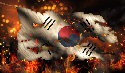 South Korea Burning Fire Flag War Conflict Night 3D