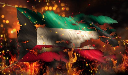 Kuwait Burning Fire Flag War Conflict Night 3D