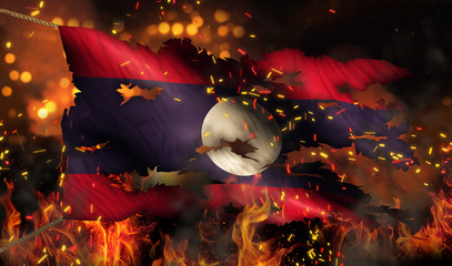 Laos Burning Fire Flag War Conflict Night 3D