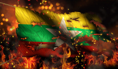 Myanmar Burning Fire Flag War Conflict Night 3D