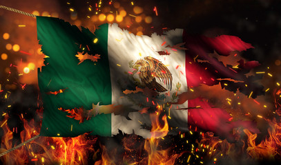 Mexico Burning Fire Flag War Conflict Night 3D