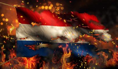 Netherlands Burning Fire Flag War Conflict Night 3D