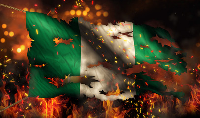 Nigeria Burning Fire Flag War Conflict Night 3D