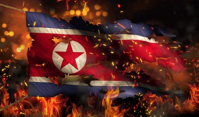 North Korea Burning Fire Flag War Conflict Night 3D