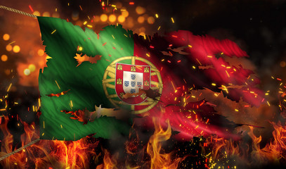 Portugal Burning Fire Flag War Conflict Night 3D