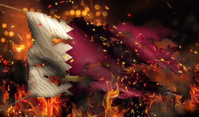 Qatar Burning Fire Flag War Conflict Night 3D