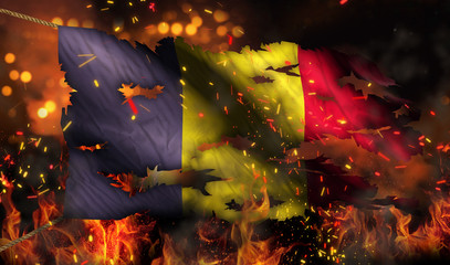 Romania Burning Fire Flag War Conflict Night 3D