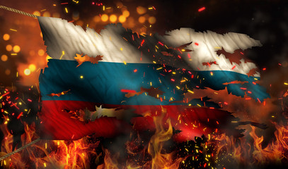 Russia Burning Fire Flag War Conflict Night 3D