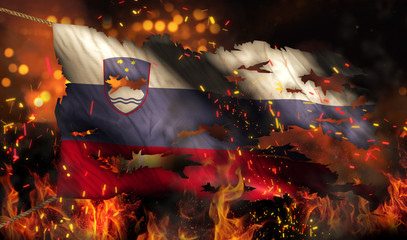 Slovenia Burning Fire Flag War Conflict Night 3D