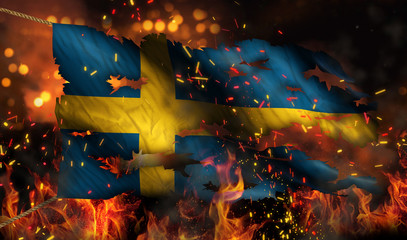 Sweden Burning Fire Flag War Conflict Night 3D