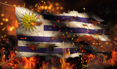Uruguay Burning Fire Flag War Conflict Night 3D