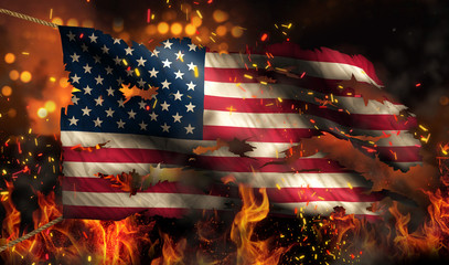 USA America Burning Fire Flag War Conflict Night 3D