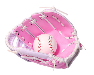 Baseball in Pink Female Glove isolated on white.