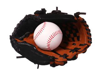 Baseballl in Glove isolated on white.