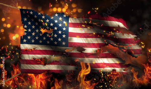 Leinwandbild Motiv USA America Burning Fire Flag War Conflict Night 3D