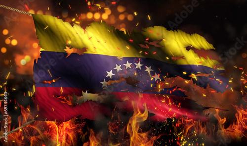 Leinwandbild Motiv Venezuela Burning Fire Flag War Conflict Night 3D