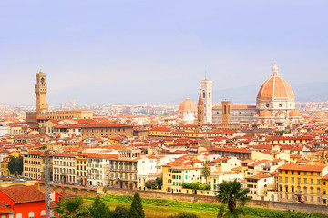 Florence View. Palazzo Vecchio and Cathedral of Santa Maria del