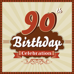 90 years celebration, 90th happy birthday retro style card