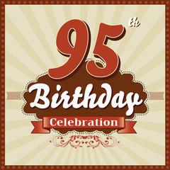 95 years celebration, 95th happy birthday retro style card