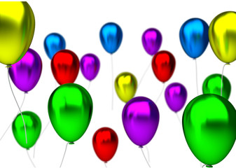 purple,blue, green, yellow, pink and red birthday balloons