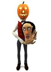funny cartoon man with pumpkin for a head
