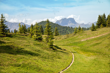 The mountain trail in Alps near from Saint-Gervais-les-Ba